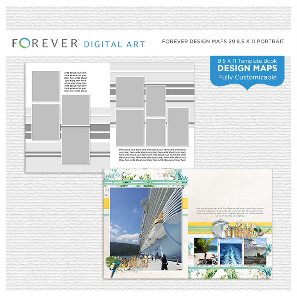 Forever Design Maps 29 8.5x11 Portrait Digital Art - Digital Scrapbooking Kits