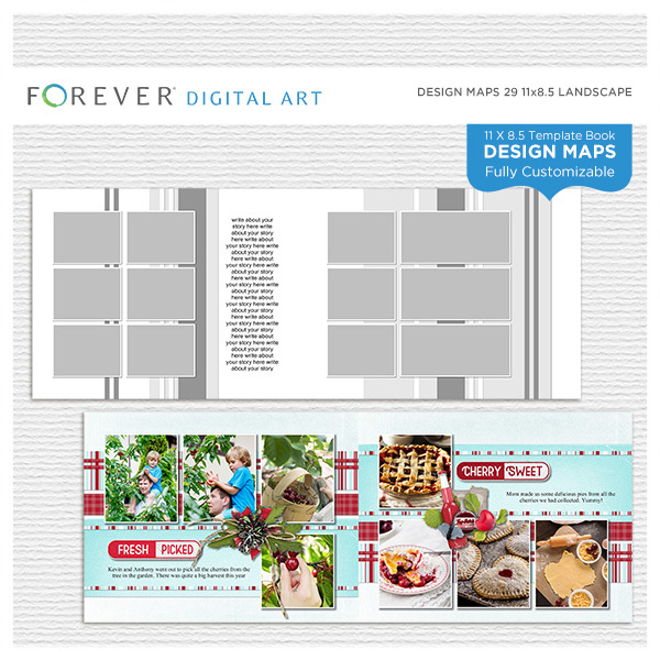 Forever Design Maps 29 11x8.5 Digital Art - Digital Scrapbooking Kits