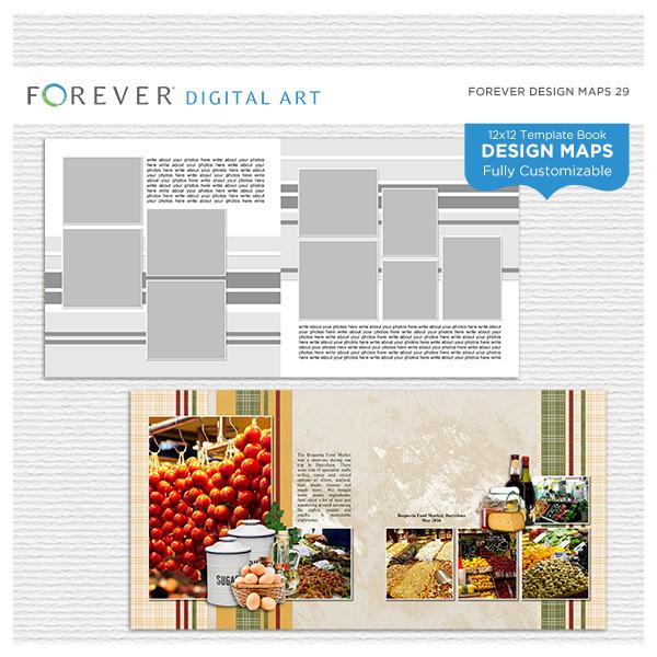Forever Design Maps 29 12x12 Digital Art - Digital Scrapbooking Kits