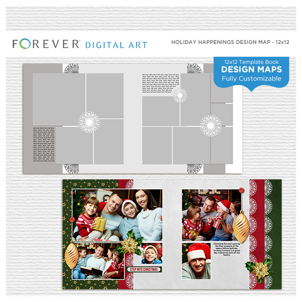 Holiday Happenings Design Map Digital Art - Digital Scrapbooking Kits