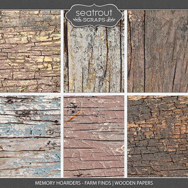 Memory Hoarders - Farm Finds Wooden Papers Digital Art - Digital Scrapbooking Kits