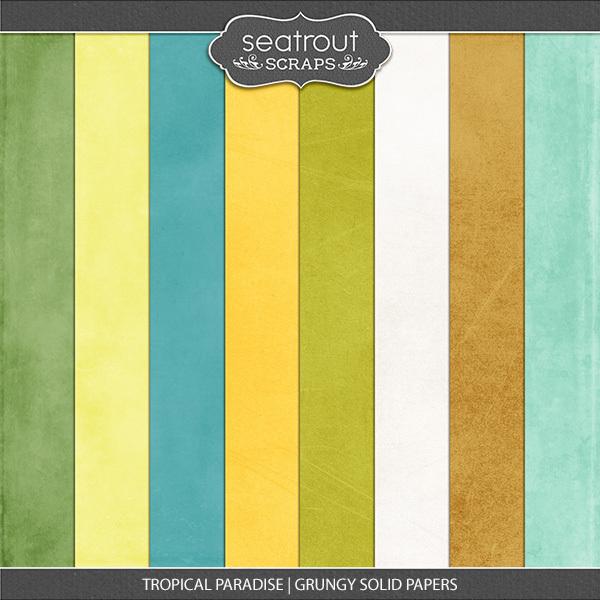 Tropical Paradise Grungy Solid Papers Digital Art - Digital Scrapbooking Kits