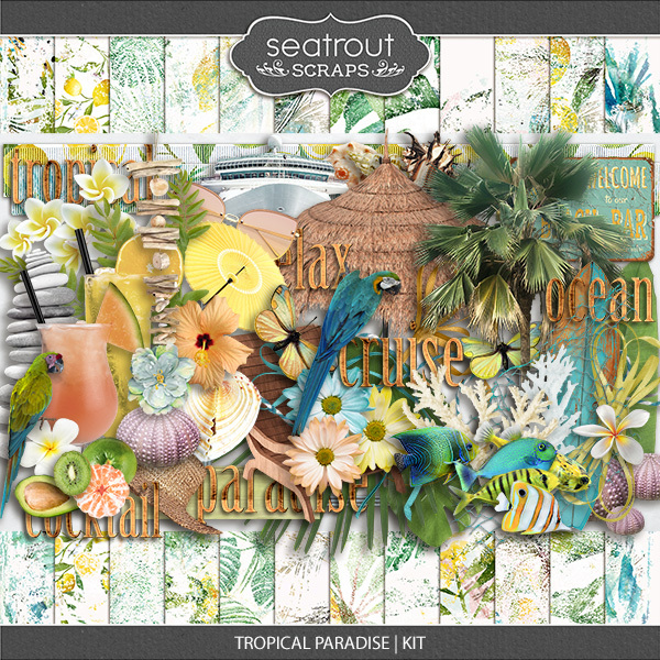 Tropical Paradise Kit Digital Art - Digital Scrapbooking Kits