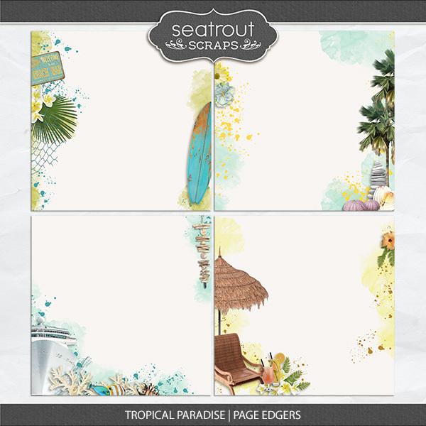Tropical Paradise Page Edgers Digital Art - Digital Scrapbooking Kits
