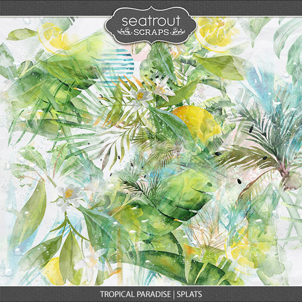 Tropical Paradise Splats Digital Art - Digital Scrapbooking Kits