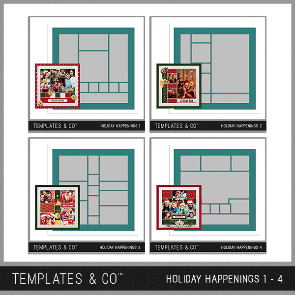 Holiday Happenings 1-4 Digital Art - Digital Scrapbooking Kits