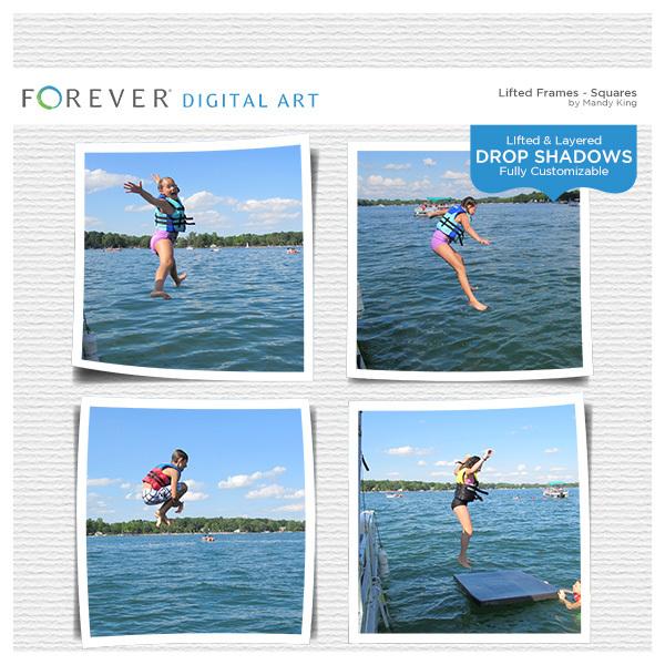 Lifted Frames - Squares Digital Art - Digital Scrapbooking Kits