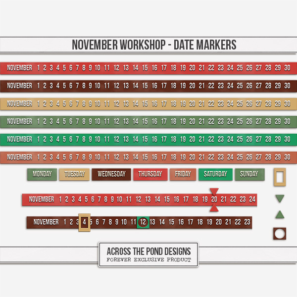 November Workshop - Date Markers Digital Art - Digital Scrapbooking Kits