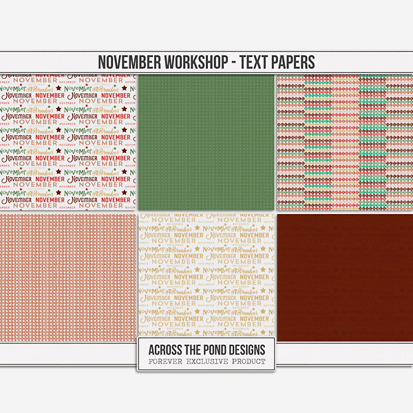 November Workshop - Month Papers Digital Art - Digital Scrapbooking Kits