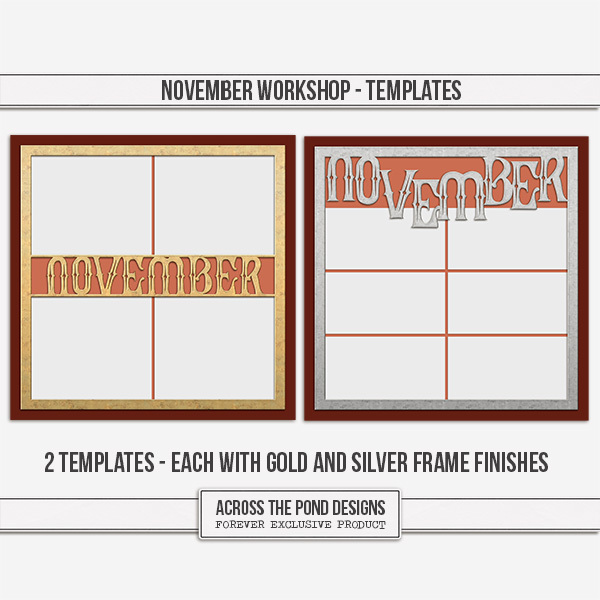 November Workshop - Templates Digital Art - Digital Scrapbooking Kits