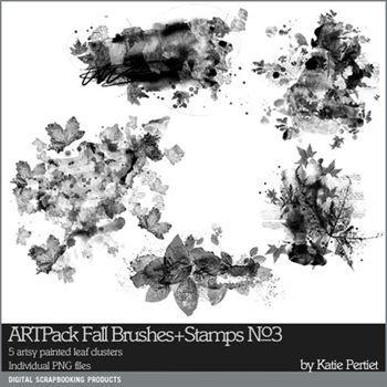 Artpack Fall Brushes And Stamps No. 03 Digital Art - Digital Scrapbooking Kits