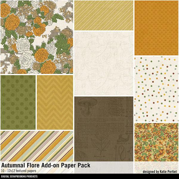 Autumnal Flore Add-on Paper Pack Digital Art - Digital Scrapbooking Kits