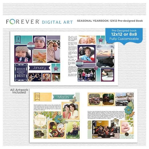 Seasonal Yearbook 12x12 Pre-designed Book Digital Art - Digital Scrapbooking Kits