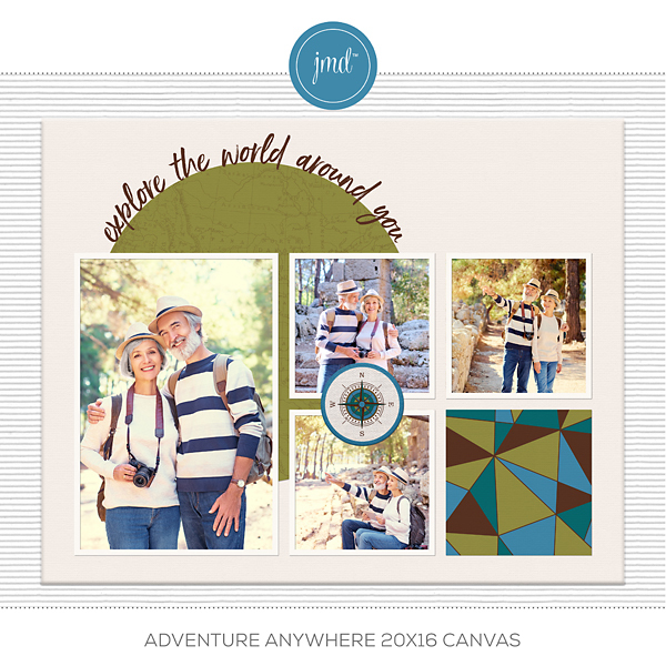 Adventure Anywhere 20x16 Canvas Digital Art - Digital Scrapbooking Kits