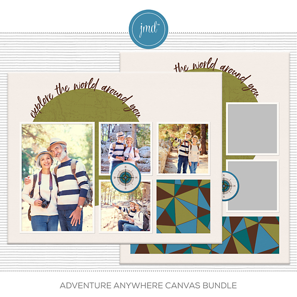 Adventure Anywhere Canvas Bundle Digital Art - Digital Scrapbooking Kits