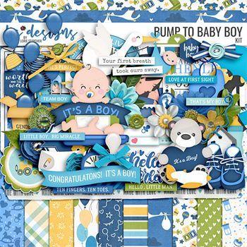 Bump To Baby Boy Digital Art - Digital Scrapbooking Kits