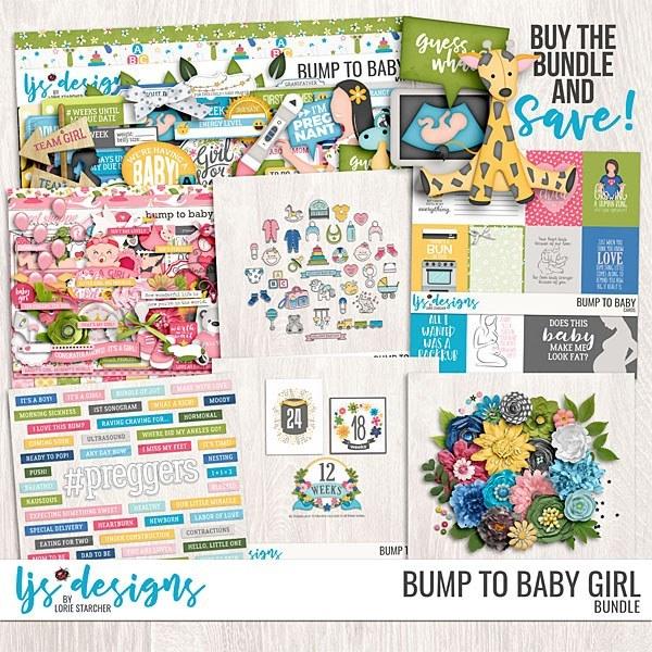 Bump To Baby Girl Bundle Digital Art - Digital Scrapbooking Kits