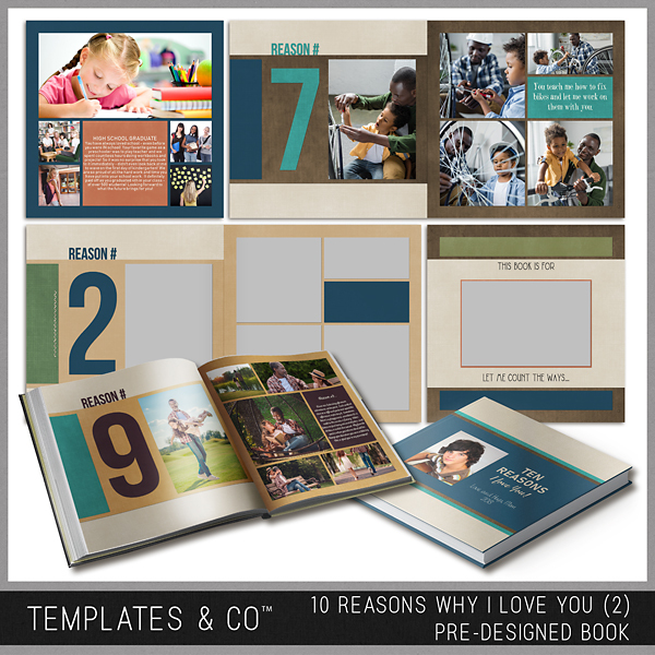 10 Reasons Why I Love You (2) - Pre-designed Book Digital Art - Digital Scrapbooking Kits