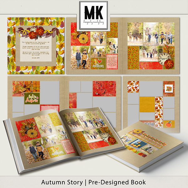 Autumn Story Pre-designed Book Digital Art - Digital Scrapbooking Kits