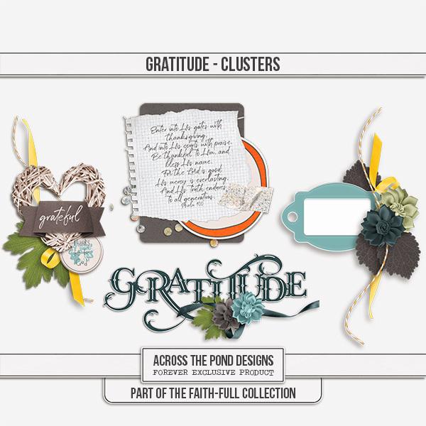 Faithfull Series - Gratitude Clusters Digital Art - Digital Scrapbooking Kits