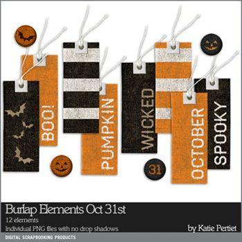 Burlap Elements Oct 31st Digital Art - Digital Scrapbooking Kits