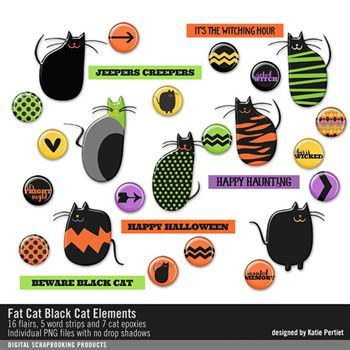 Fat Cat Black Cat Elements Digital Art - Digital Scrapbooking Kits