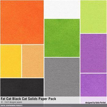 Fat Cat Black Cat Solids Paper Pack Digital Art - Digital Scrapbooking Kits