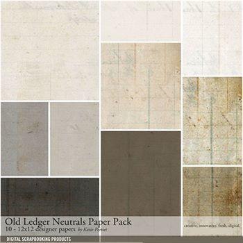 Old Ledger Neutrals Paper Pack Digital Art - Digital Scrapbooking Kits