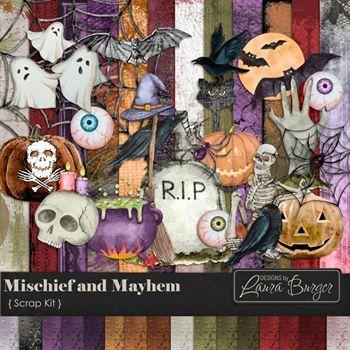 Mischief And Mayhem Scrap Kit Digital Art - Digital Scrapbooking Kits