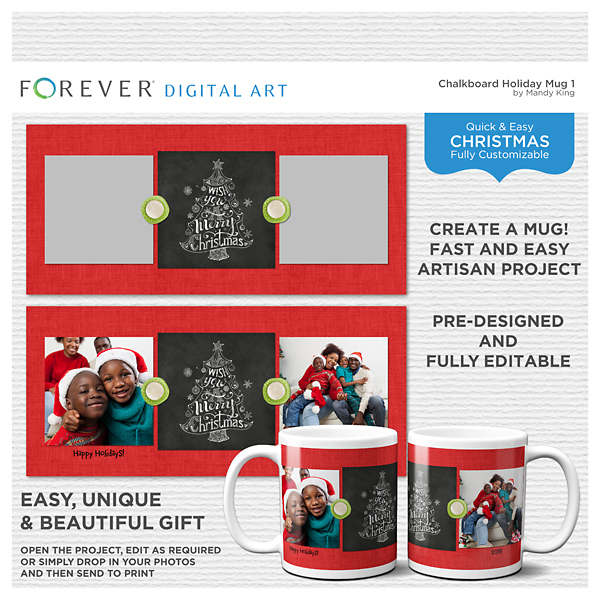 Chalkboard Holiday - Mug 1 Digital Art - Digital Scrapbooking Kits