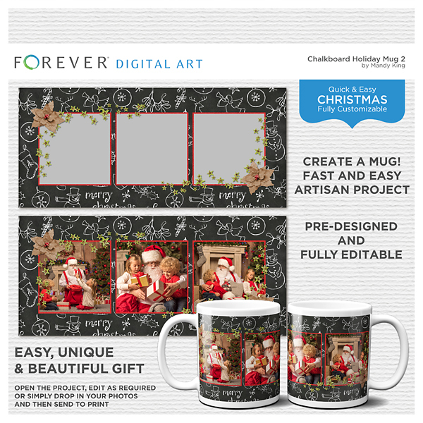 Chalkboard Holiday - Mug 2 Digital Art - Digital Scrapbooking Kits