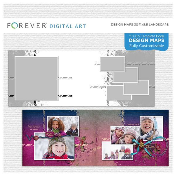 Forever Design Maps 30 11x8.5 Digital Art - Digital Scrapbooking Kits