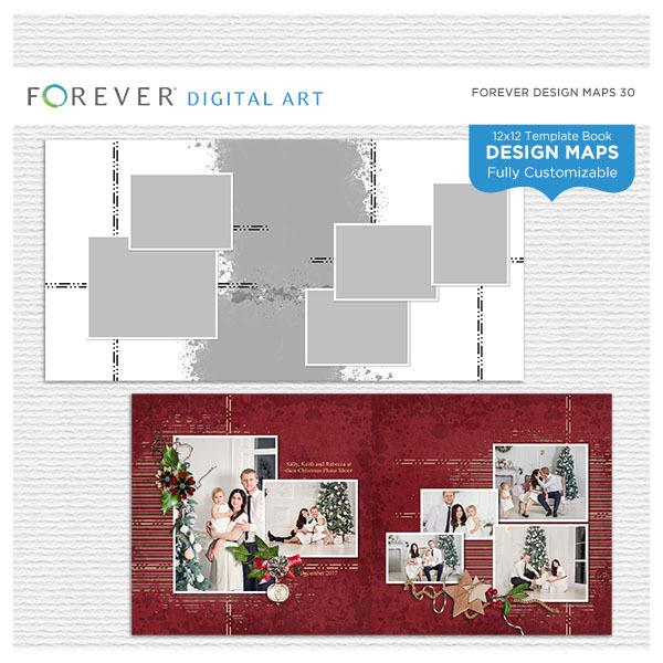 Forever Design Maps 30 12x12 Digital Art - Digital Scrapbooking Kits