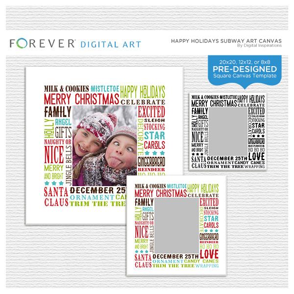 Happy Holidays Subway Art Canvas Digital Art - Digital Scrapbooking Kits