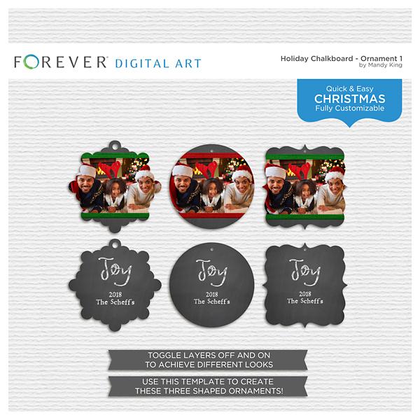 Holiday Chalkboard - Ornament 1 Digital Art - Digital Scrapbooking Kits