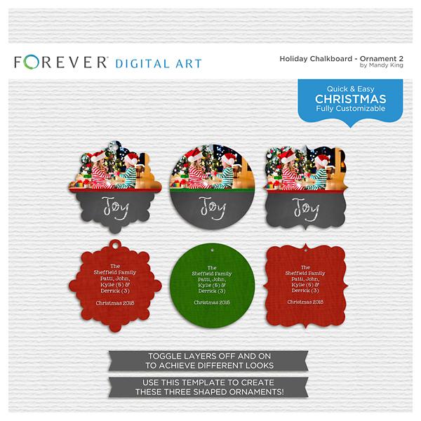 Holiday Chalkboard - Ornament 2 Digital Art - Digital Scrapbooking Kits