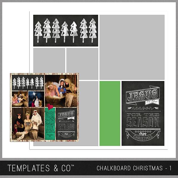 Chalkboard Christmas 1 Digital Art - Digital Scrapbooking Kits