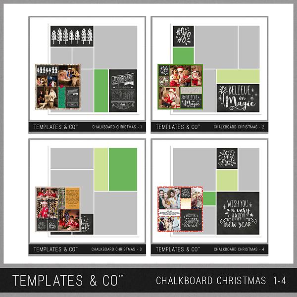 Chalkboard Christmas 1-4 Digital Art - Digital Scrapbooking Kits