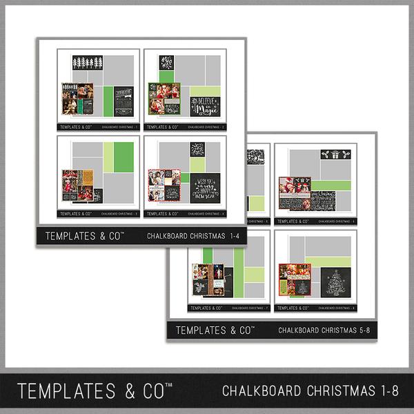 Chalkboard Christmas 1-8 Digital Art - Digital Scrapbooking Kits