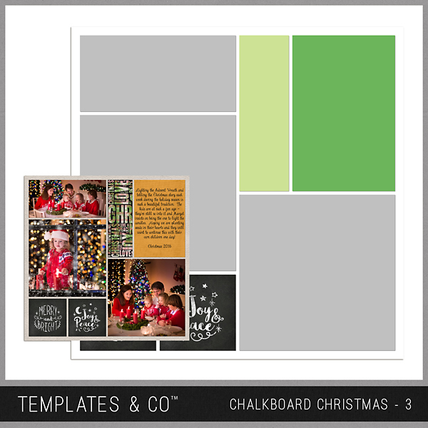 Chalkboard Christmas 3 Digital Art - Digital Scrapbooking Kits