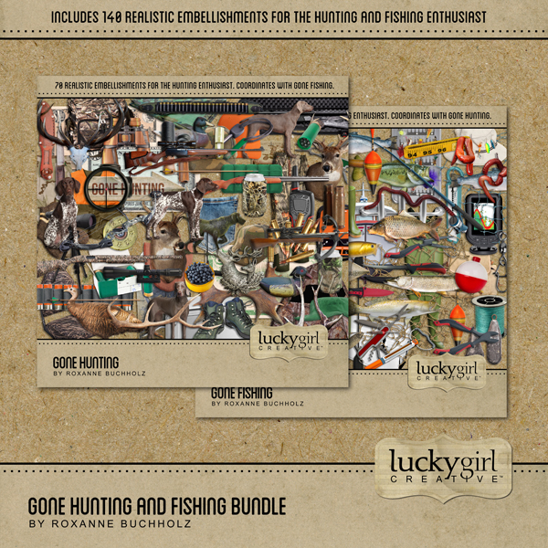 Gone Hunting And Fishing Bundle Digital Art - Digital Scrapbooking Kits