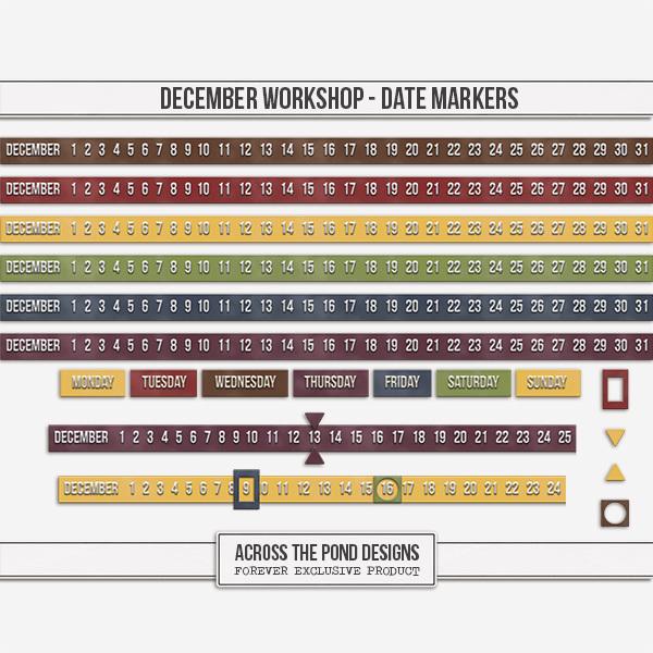 December Workshop - Date Markers Digital Art - Digital Scrapbooking Kits