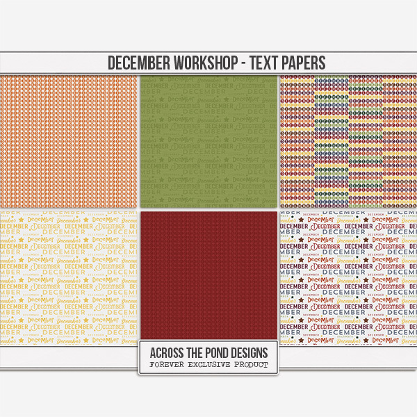 December Workshop - Month Papers Digital Art - Digital Scrapbooking Kits