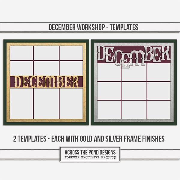 December Workshop - Templates Digital Art - Digital Scrapbooking Kits