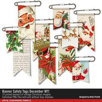 Banner Safety Tags December No. 01 Digital Art - Digital Scrapbooking Kits