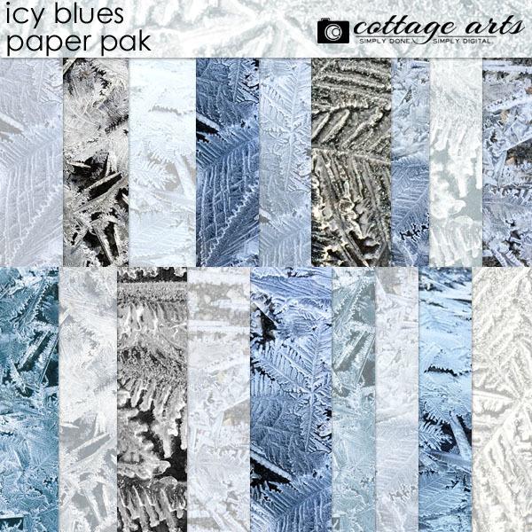 Icy Blues Paper Pak Digital Art - Digital Scrapbooking Kits