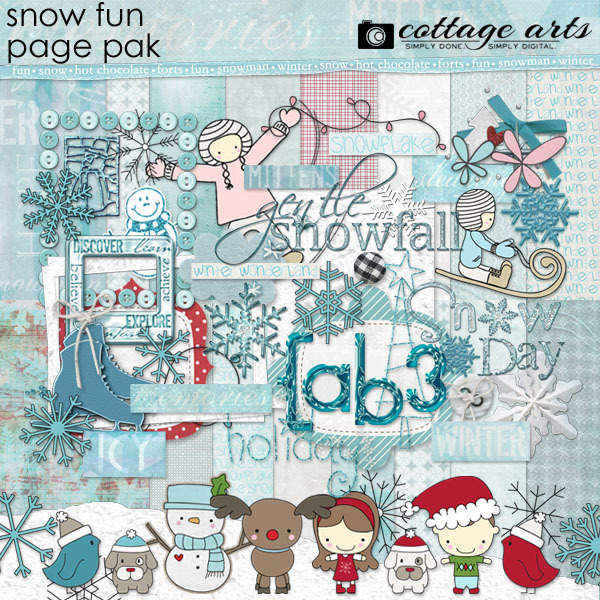 Snow Fun Page Pak Digital Art - Digital Scrapbooking Kits