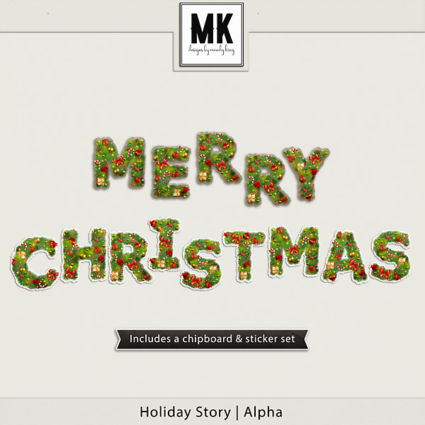 Holiday Story - Alpha Digital Art - Digital Scrapbooking Kits