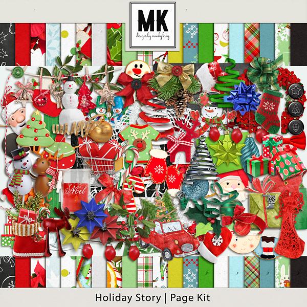 Holiday Story - Page Kit Digital Art - Digital Scrapbooking Kits