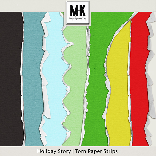 Holiday Story - Torn Papers Digital Art - Digital Scrapbooking Kits